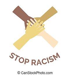 tudo, parada, vetorial, equal., racismo, discriminação, bandeira, seres humanos, concept., contra