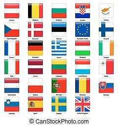 tudo, quadrado, países, estilo, union., bandeiras, lustroso, europeu