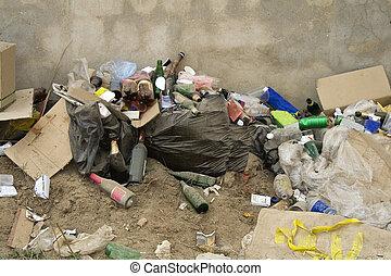 tudo, sorts, de, lixo, um, disposição desperdiçada, local