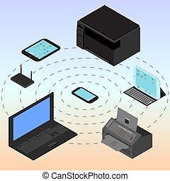 tudo, tabuleta, isometric, dispositivos, laptop, modem, infographic, conectado, router, computador, smartphone, smartphone.