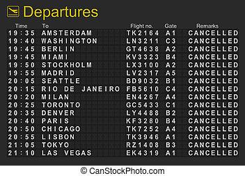 tudo, vôos, aeroporto, partidas, cancelado, internacional, tábua