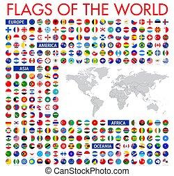 tudo, vecto, nacional, oficial, bandeiras, circular, world., design.