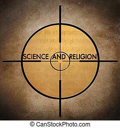 tudomány, és, vallás, céltábla