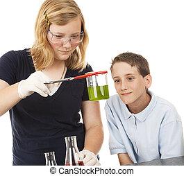 tudomány, gyerekek, -, kémia