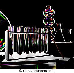 tudomány, háttér, noha, teszt cső