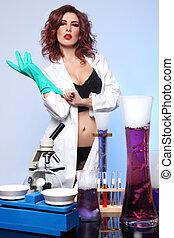 tudomány, kísérlet, öltözet, diák, szexi