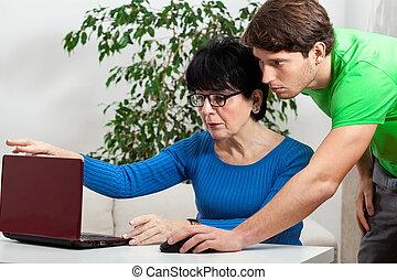 tudomány, nő, számítógép, öregedő, tanulás
