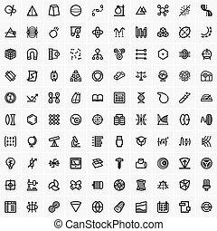 tudomány, technology icons