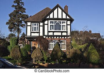 tudor 様式, 家, 中に, ロンドン