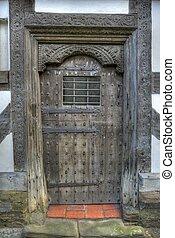 Tudor Door, Shropshire - Carved Tudor door, Ludlow,...