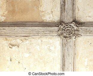 Tudor rose ceiling - Old Tudor rose ceiling joists...