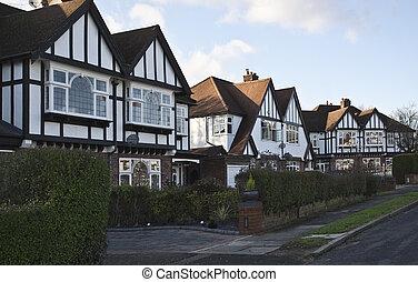 Tudor style houses in London