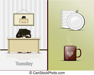 Tuesday? - Illustration sleeping at the table of the person...