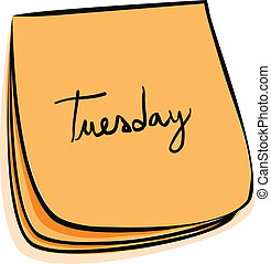 Tuesday Note - Daily Post-It Notes With Handwritten Monday (...