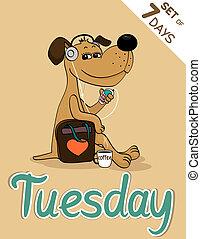 Tuesday, weekdays hipster vector illustration calendar set