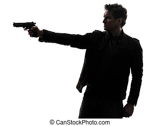tueur, homme, fusil, viser, policier, silhouette