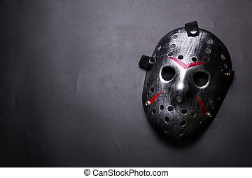 tueur, masque, isolé, noir, hockey, feuilleton