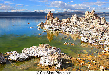 Tufa formations by the shore of Mono lake in California