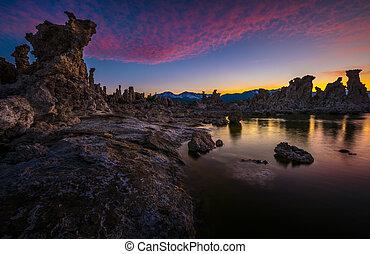 Tufa Towers at Mono Lake against Beautiful Sunset Sky