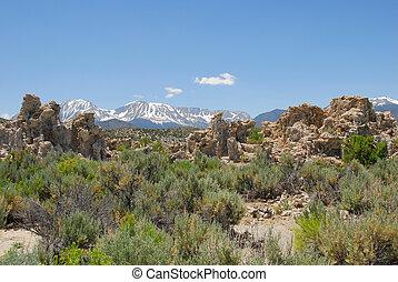 Tufas rocks made of calcium carbonate deposits at Mono Lake California, USA