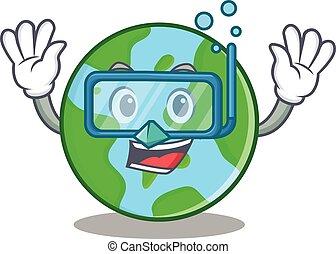 tuffo, globo, carattere, cartone animato, mondo