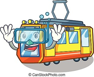 tuffo, treno elettrico, isolato, con, il, cartone animato