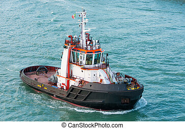 Tug boat alone cruising but not towing
