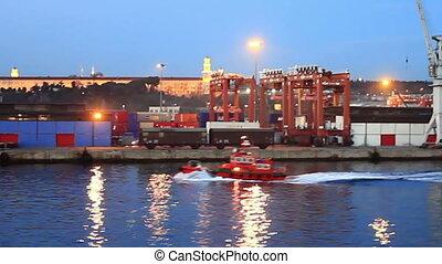 Tug boat in sea port