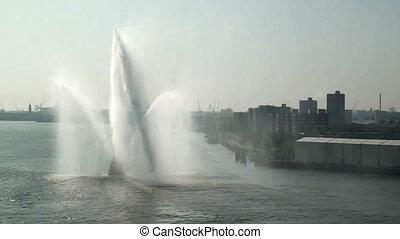 Tug boat splashing water-Rotterdam - Tug boat splashing...