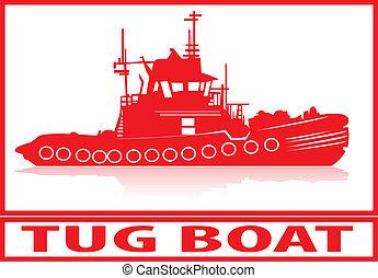 Tug boat. - Tug boat in red silhouette.