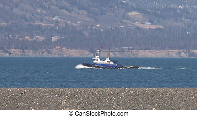 Tug Boat Underway - Classic working tug boat en route to a...
