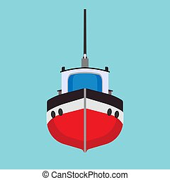 Tug boat vector icon transportation vessel sea. Marine ship industry freight. Tow mini tanker flat cartoon front view