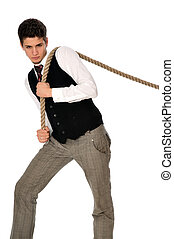 tug-of-war at work - strong-willed man pulling of a rope and...