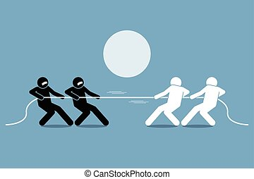 Tug of war. Vector artwork depicts power struggle,...