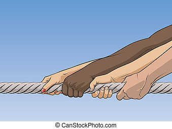 Tug-of-war - Close-up of illustration of human hands pulling...