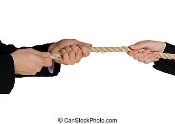 tug of war; hands pulling a rope; business background