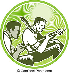 Illustration of office workers businessman pulling rope in tug-of-war set inside circle done in retro woodcut style.