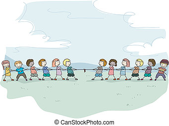 Tug of War Stick Kids - Illustration of Stick Kids playing...