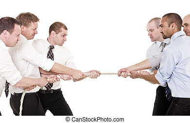 Tug-of-war - Businessmen in a tug-of-war isolated on white...