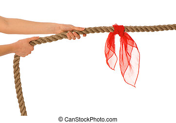 tug of war - The strong-willed woman plays of pulling of a...