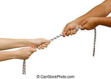 Tug of War, Two hands pulling a rope, meaning Business competition - man and woman struggling to win