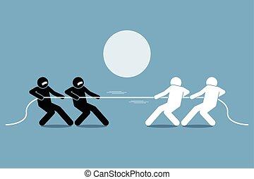 Tug of war. Vector artwork depicts power struggle,...