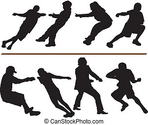 Tug of war vector silhouettes. Adults, children and rope....