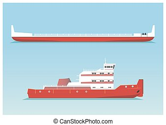 Tugboat and barge. Vector illustration. EPS 10, opacity