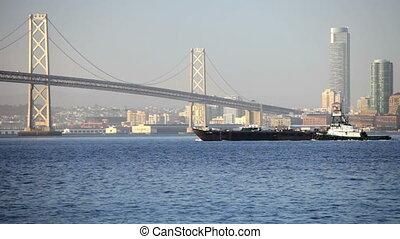 Tugboat at Bay Bridge
