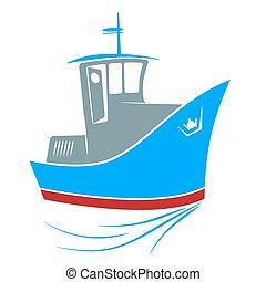 Tugboat at sea - Cartoon blue Tugboat at sea. Vector...
