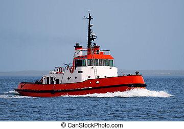 Harbor Tugboat underway at speed.