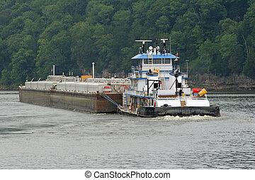 Tugboat & Barge 4 - Tugboat pushing barge, misty morning on...