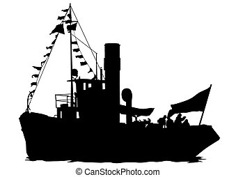 Tugboat - Silhouettes of sailboats in the sea on a white...