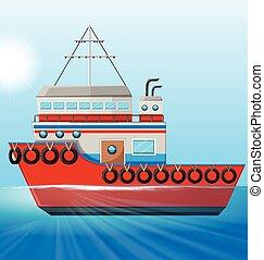 Tugboat floating in the ocean illustration